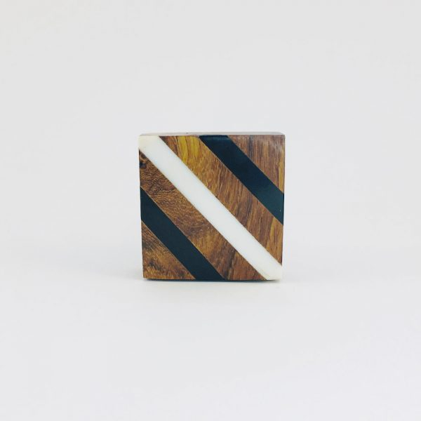 Black and White Diagonal Striped Knob