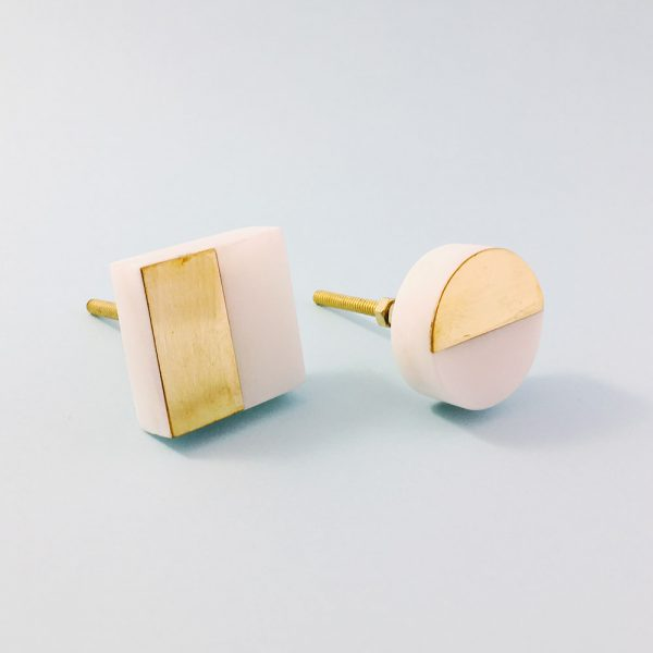 White Marble and Brass Square Splicer Knob