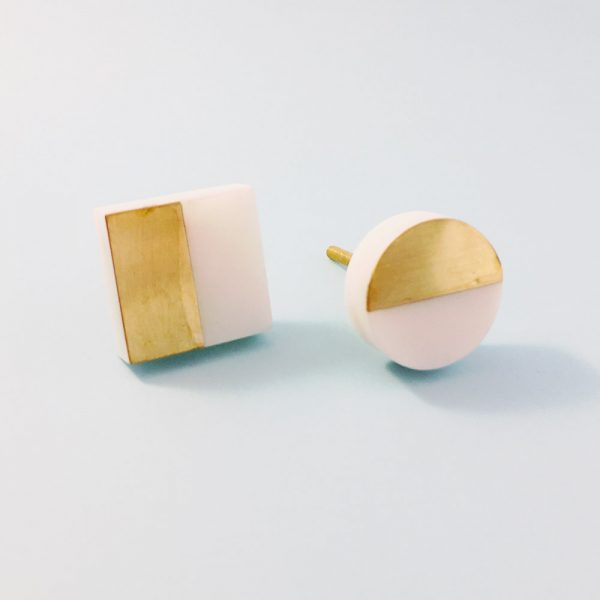 white marble and brass splicer knob group 2 600x600 - White Marble and Brass Square Splicer Knob