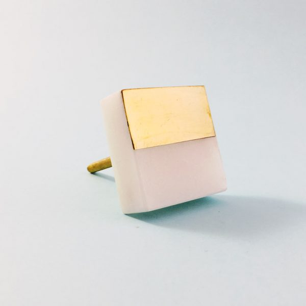 white marble and brass square splicer knob 4 600x600 - White Marble and Brass Square Splicer Knob