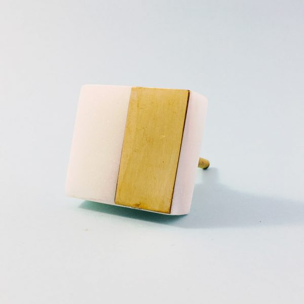 white marble and brass square splicer knob 8 600x600 - White Marble and Brass Square Splicer Knob