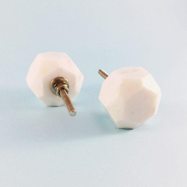 white marble geometric knob 2 600x600 - White Solid Geometric Marble Knob