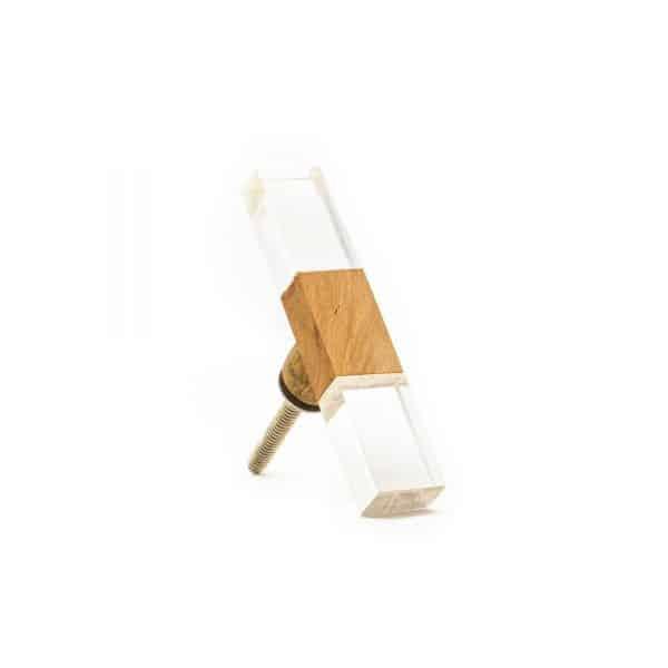 Rectangle Slimline Wood and Acrylic Pull Bar Knob