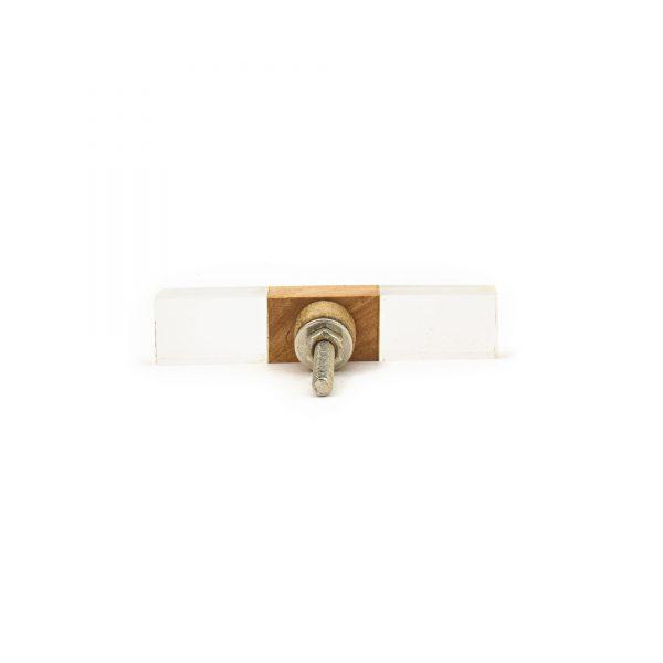 Rectangle Slimline Wood and Acrylic Pull Bar Knob