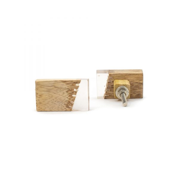 Split Jagged Wood and Resin Rectangle Pull