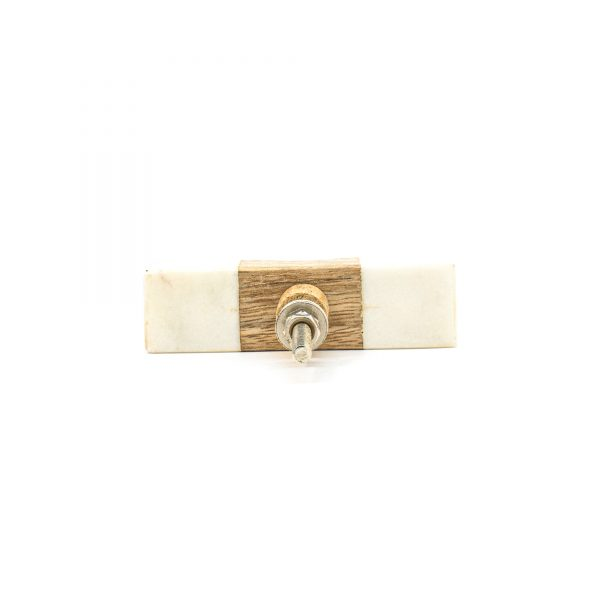 Wedged White Marble and Wood Pull Bar