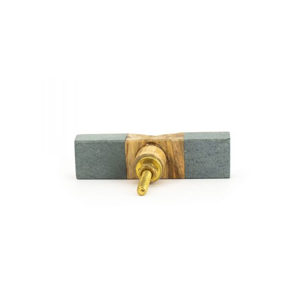 Wedged Light Grey Marble and Wood Pull Bar