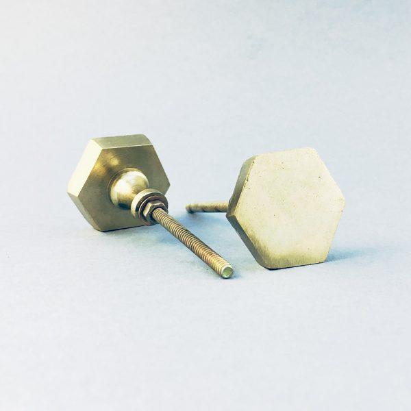 gold iron hexagon knob 2 600x600 - Polished Gold Hexagon Knob