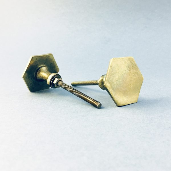 Polished Gold Slimline Hexagon Knob