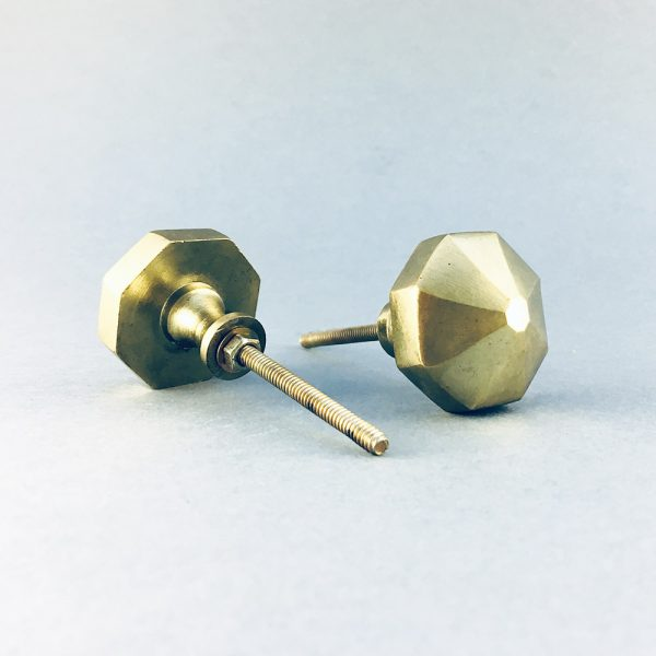 gold iron octagon prism knob 1 600x600 - Polished Gold Octagon Prism Knob