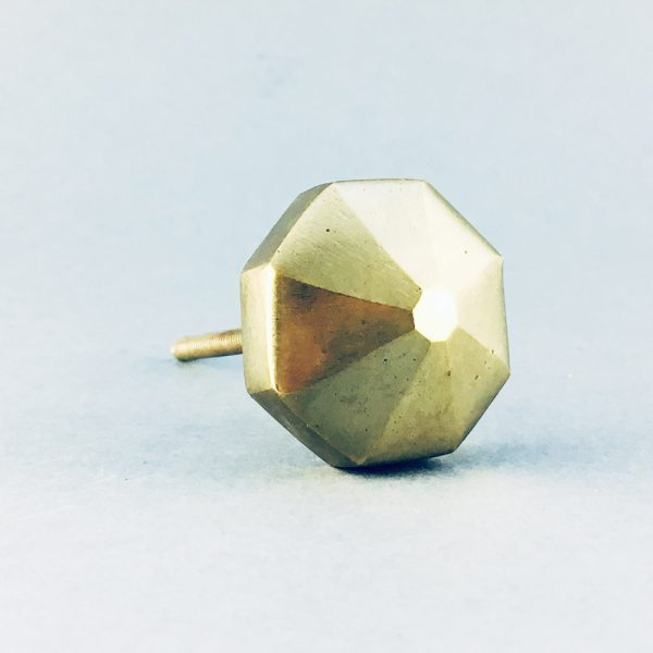 gold iron octagon prism knob 4 600x600 - Polished Gold Octagon Prism Knob