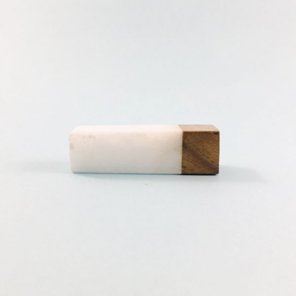 white marble and wood tipped tpull 4 600x600 - White Marble and Wood Tip Pull Bar