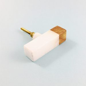 White Marble and Wood Tip Pull Bar