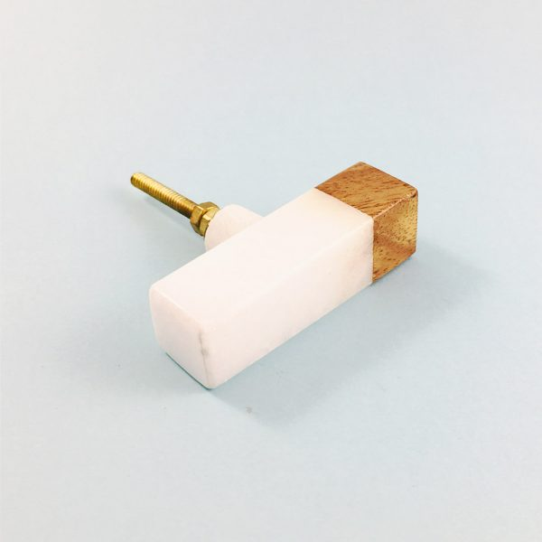 white marble and wood tipped tpull 7 600x600 - White Marble and Wood Tip Pull Bar
