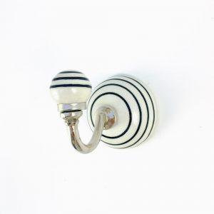 black striped ceramic wall hook 2 300x300 - Round Black and White Inlay Knob