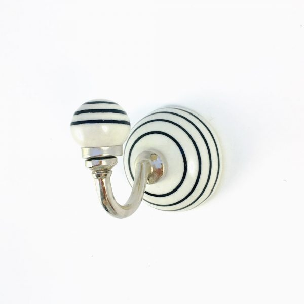 black striped ceramic wall hook 2 600x600 - Black and White Striped Wall Hook