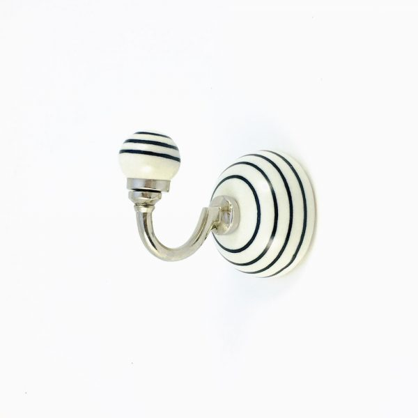 black striped ceramic wall hook 3 600x600 - Black and White Striped Wall Hook