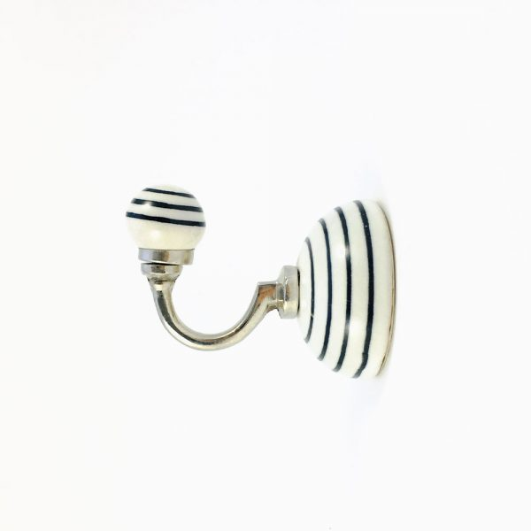 black striped ceramic wall hook 4 600x600 - Black and White Striped Wall Hook