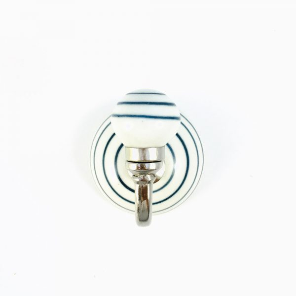 blue striped wall hook 1 600x600 - Blue and White Striped Wall Hook