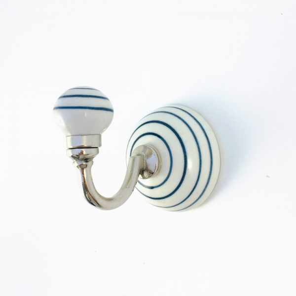 blue striped wall hook 2 600x600 - Blue and White Striped Wall Hook