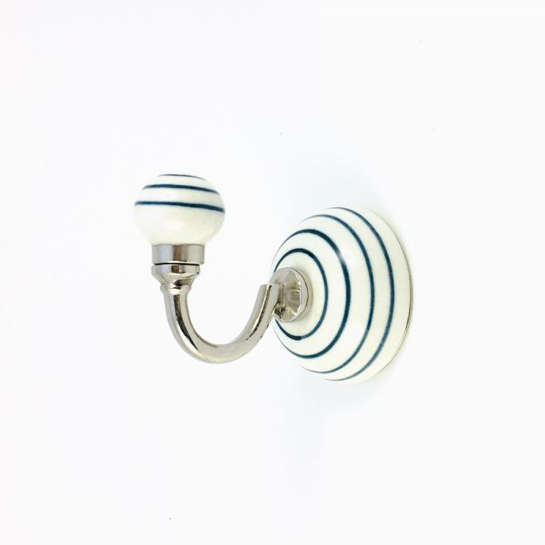 blue striped wall hook 3 600x600 - Blue and White Striped Wall Hook