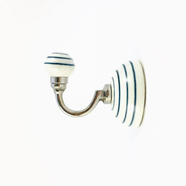 blue striped wall hook 4 600x600 - Blue and White Striped Wall Hook