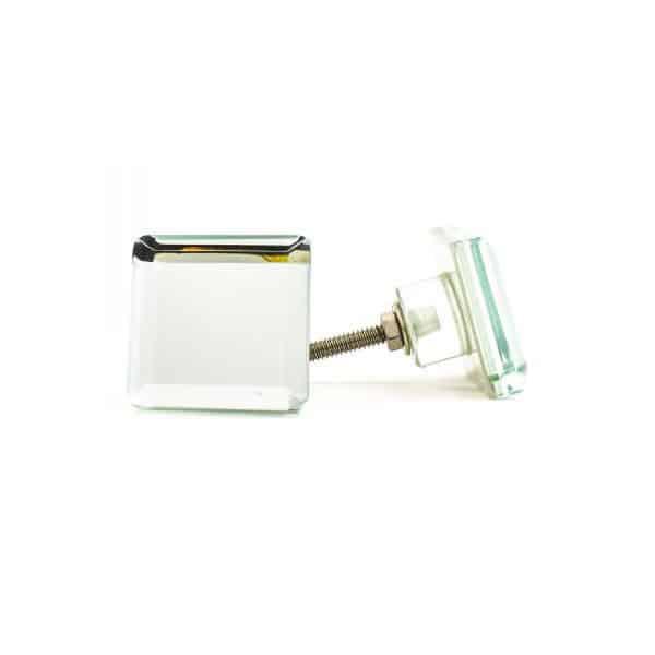 Mirrored Square Glass Knob