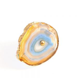 Blue, Taupe, Green Sliced Agate Knob