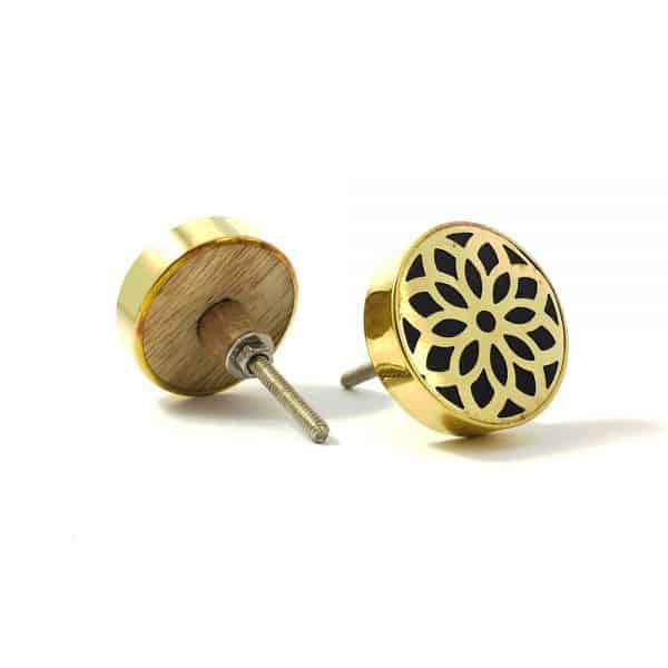 gold flower outline knob 2 600x600 - Gold Flower Outline Knob