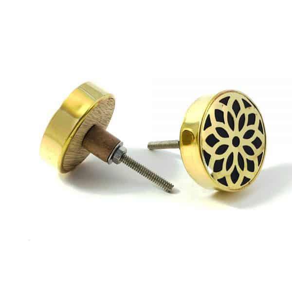 gold flower outline knob 3 600x600 - Gold Flower Outline Knob