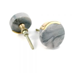 Circle grey round knob with gold edge 2 300x300 - Grey Circle Knob with Brass Trim