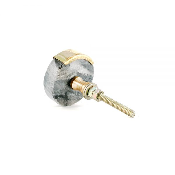 Grey Oblong Knob with Brass Trim