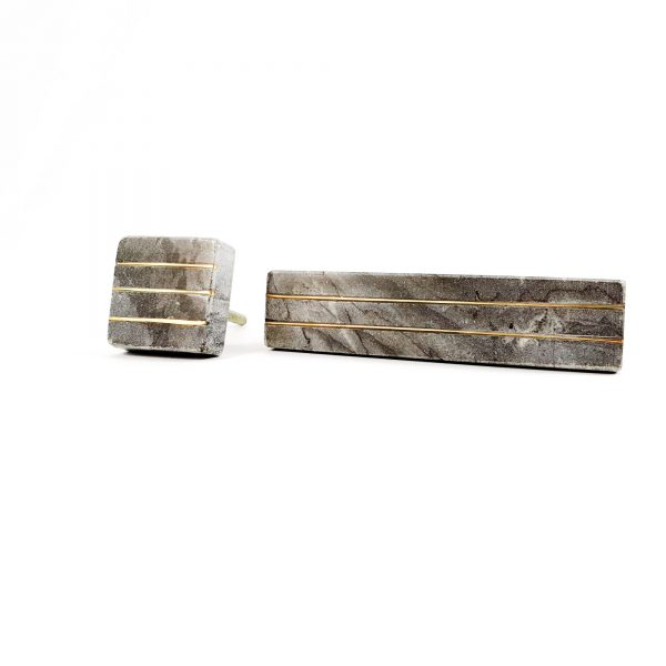 Grey Marble handle with brass lines 10 600x600 - Grey Marble and Brass Lined Handle