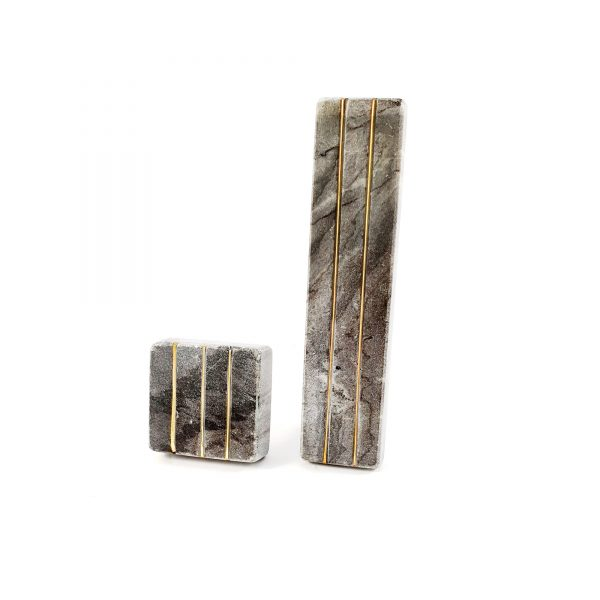 Grey Marble handle with brass lines 11 600x600 - Grey Marble and Brass Lined Handle