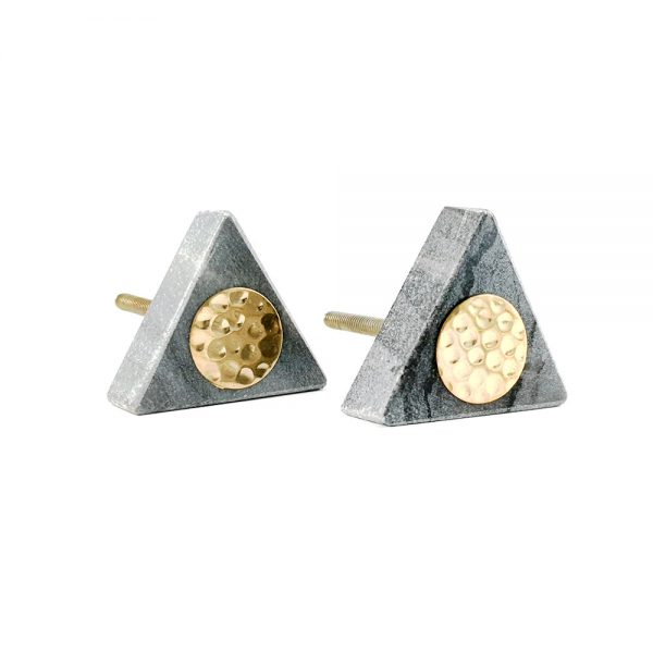 Grey triangle marble with gold hammered centre 1 600x600 - Grey Triangle Knob with Hammered Brass Centre