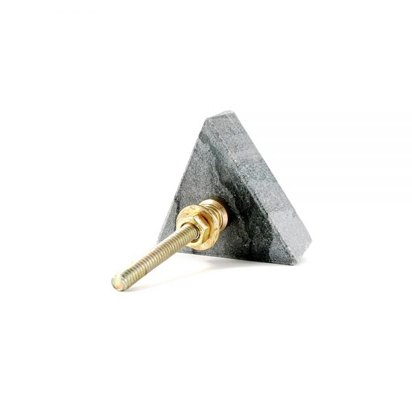Grey triangle marble with gold hammered centre 10 600x600 - Grey Triangle Knob with Hammered Brass Centre