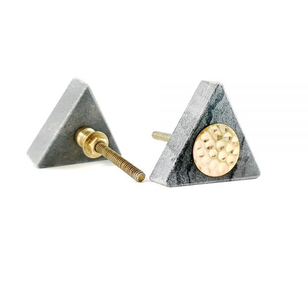 Grey triangle marble with gold hammered centre 2 600x600 - Grey Triangle Knob with Hammered Brass Centre