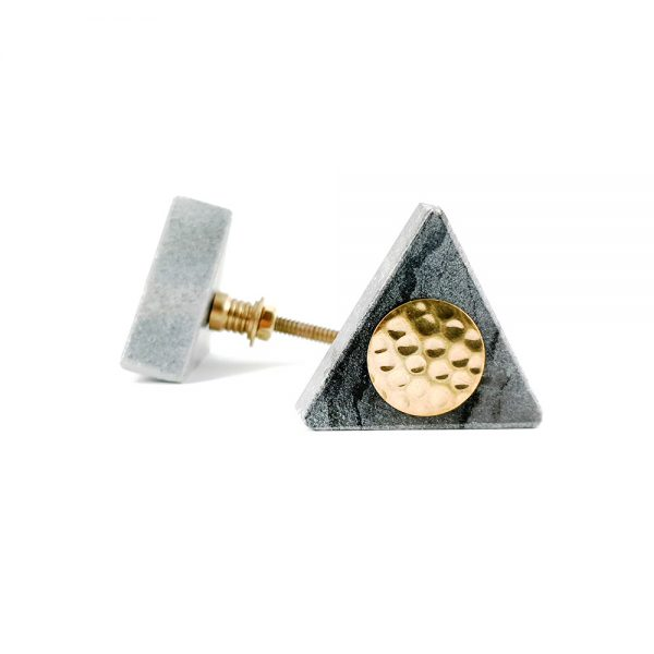 Grey triangle marble with gold hammered centre 5 600x600 - Grey Triangle Knob with Hammered Brass Centre