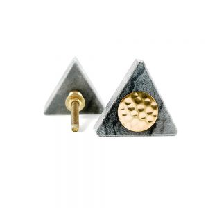 Grey triangle marble with gold hammered centre 6 300x300 - Grey Triangle Knob with Hammered Brass Centre