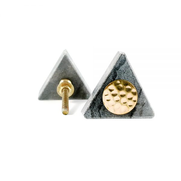 Grey triangle marble with gold hammered centre 6 600x600 - Grey Triangle Knob with Hammered Brass Centre