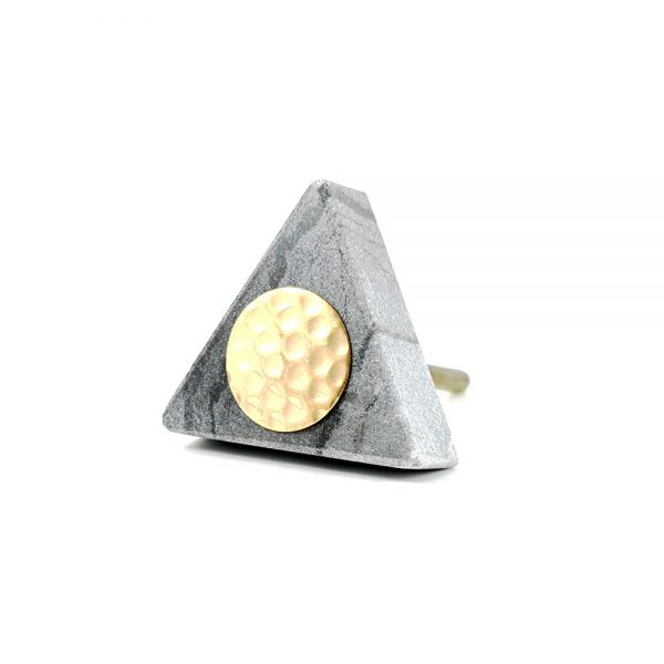 Grey triangle marble with gold hammered centre 7 600x600 - Grey Triangle Knob with Hammered Brass Centre