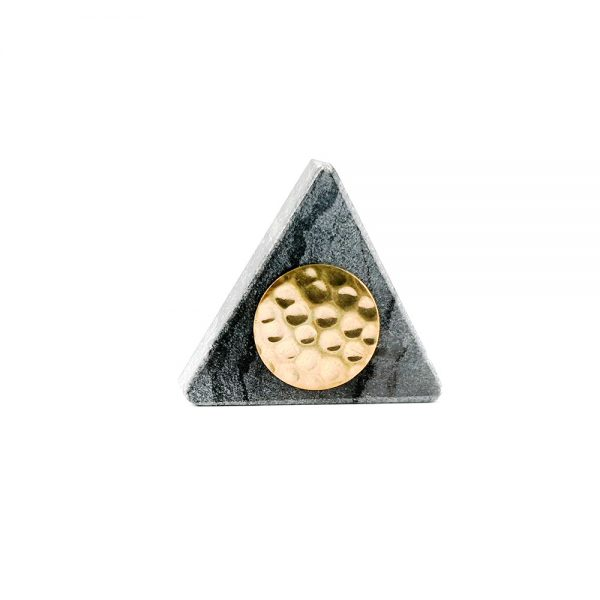 Grey triangle marble with gold hammered centre 8 600x600 - Grey Triangle Knob with Hammered Brass Centre