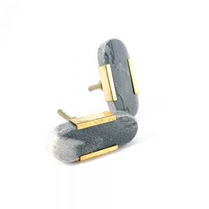 Oval grey marble knob with gold edge 1 300x300 - Grey Oblong Knob with Brass Trim
