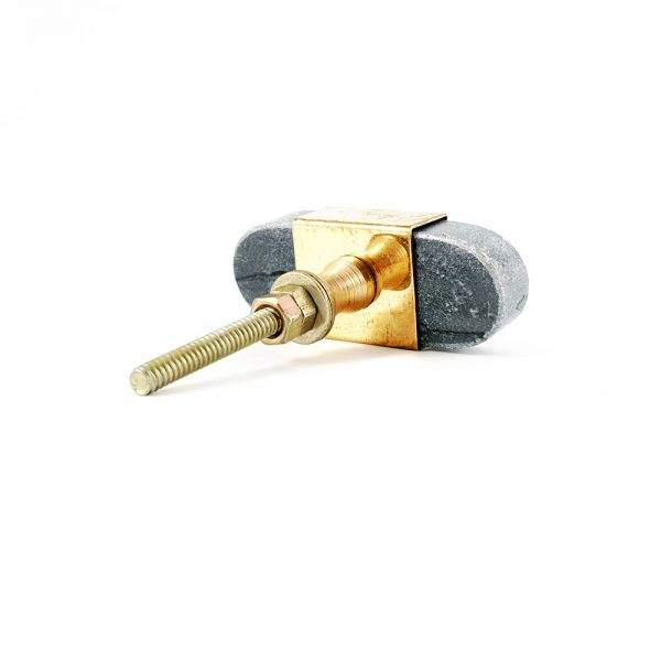 Oval grey marble knob with gold edge 8 600x600 - Grey Oblong Knob with Brass Trim