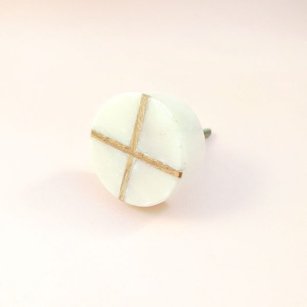 White Round Marble and Wood Intercross Knob