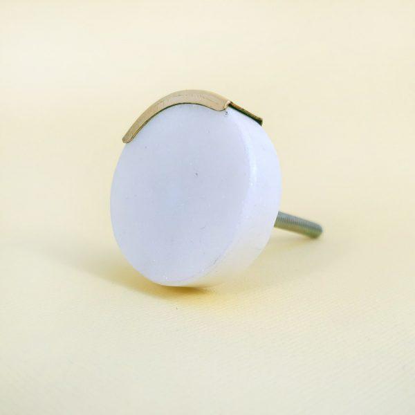 White Circle Knob with Brass Trim