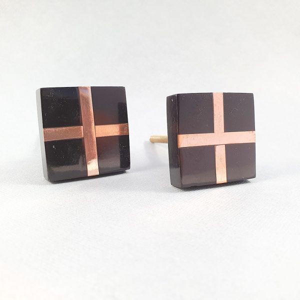 black square with copper cross knob 1 600x600 - Black Resin and Copper Intersect Knob