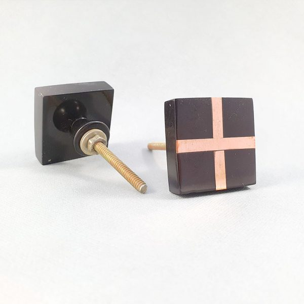 black square with copper cross knob 2 600x600 - Black Resin and Copper Intersect Knob
