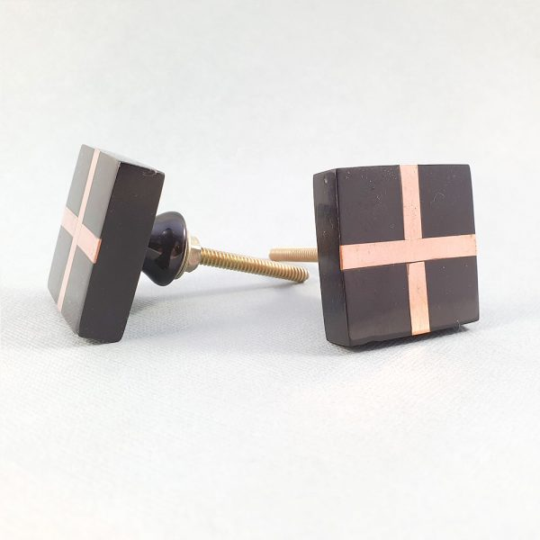 black square with copper cross knob 3 600x600 - Black Resin and Copper Intersect Knob