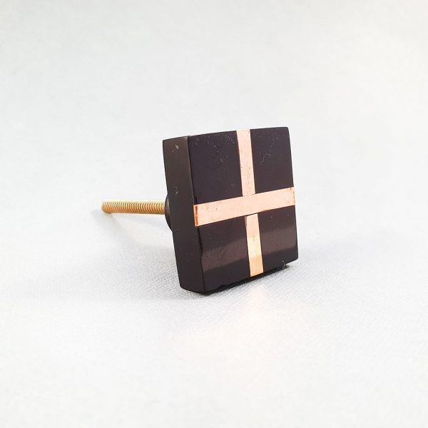 black square with copper cross knob 4 600x600 - Black Resin and Copper Intersect Knob